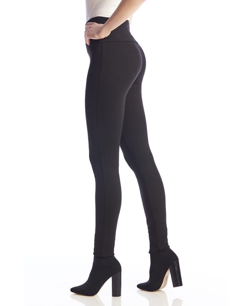 Side image of woman wearing Up! Pants Ponte Super Skinny Leg Trouser in Black