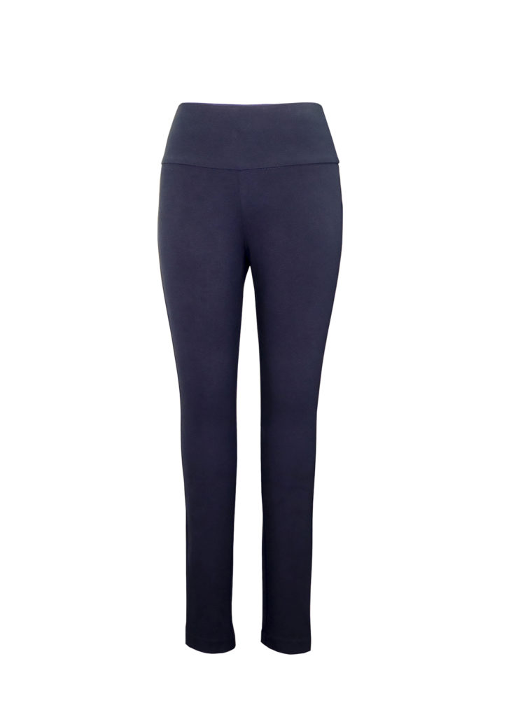 Front image of woman wearing Up! Pants Ponte Super Skinny Leg Trouser in Navy