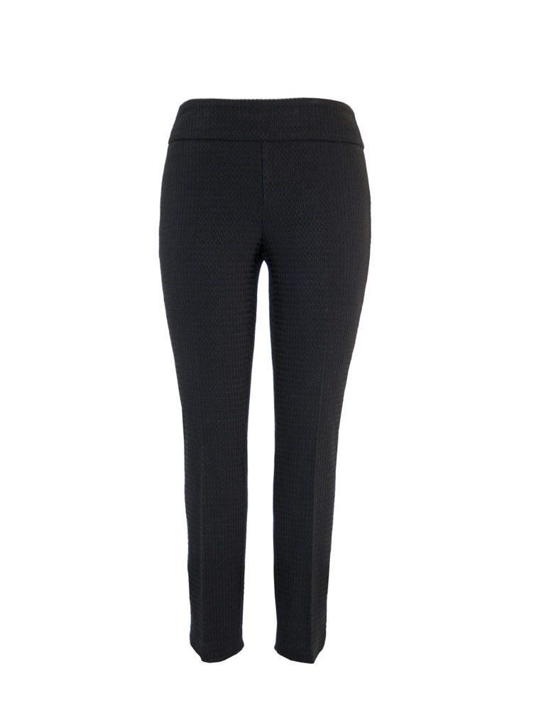 Front image of Up! Pants Boss Petal Slim Leg Trouser in Black