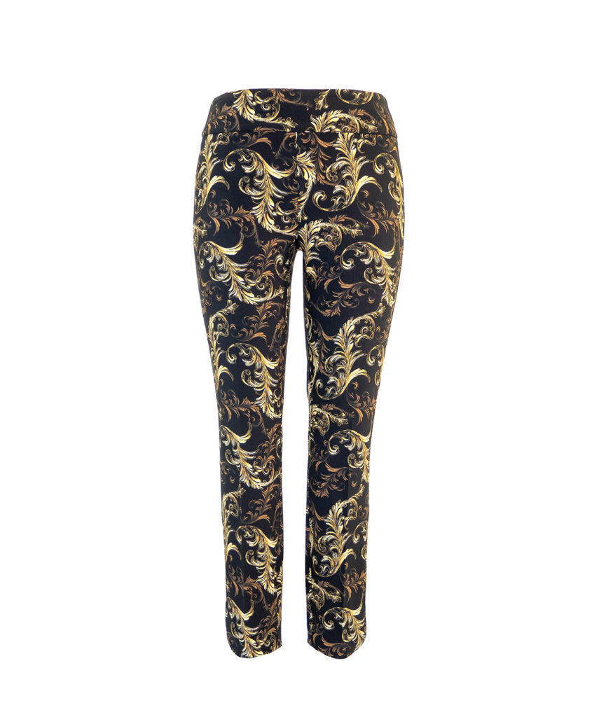 Up! Pants Valentino Slim Leg Trouser in Black and Gold
